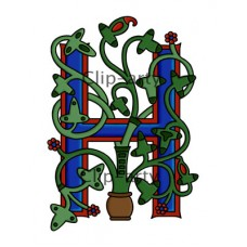 Celtic Tree of Life Capital H - Coloured