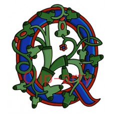 Celtic Tree of Life Capital Q - Coloured