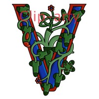 Celtic Tree of Life Capital V - Coloured