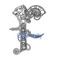Celtic Capital F - Drawing