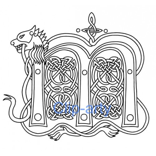 Celtic Capital M Drawing