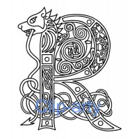 Celtic Capital R - Drawing