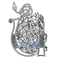 Celtic Capital U - Drawing