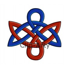 Celtic - Double Bow Knot - Blue and Red