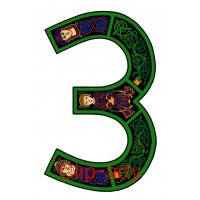 Celtic Number 3 - Coloured