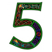 Celtic Number 5 - Coloured