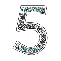 Celtic Number 5 - Drawing