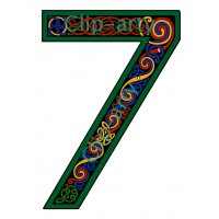 Celtic Number 7 - Coloured